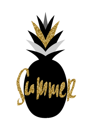 Hand lettered Summer and pineapple design in black and gold isolated on white background. Illustration