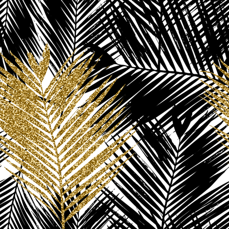 Seamless repeating pattern with silhouettes of palm tree leaves in black, gold glitter and white. Illustration