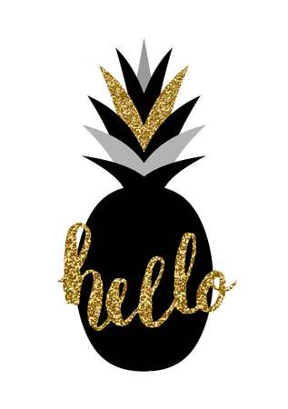 "Hand lettered ""Hello"" and pineapple design in black and gold isolated on white background."
