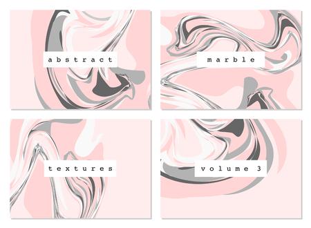 colores pastel: Un conjunto de cuatro texturas de mármol en colores pastel. textil moderna, papel de regalo, tarjetas de felicitación, diseño del arte de la pared. Vectores