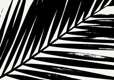 arbres silhouette: Palm leaf silhouette en noir sur fond crème. affiche moderne, carte, flyer, t-shirt, conception de vêtements. Illustration