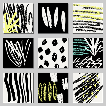 garabatos: A set of hand drawn abstract compositions in black, cream and neon yellow. Modern textile, greeting card, poster, wrapping paper designs.