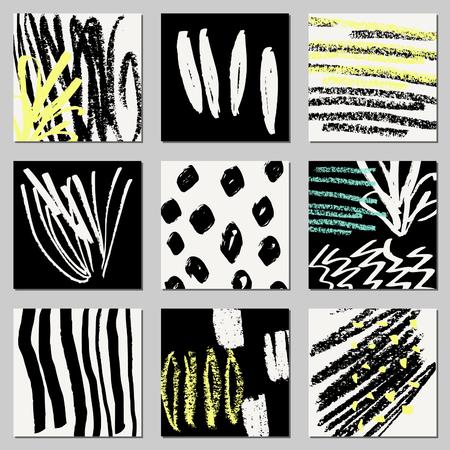 garabatos: Un conjunto de dibujado a mano composiciones abstractas en negro, crema y amarillo neón. textil moderna, tarjeta de felicitación, carteles, diseños de papel de envolver. Vectores