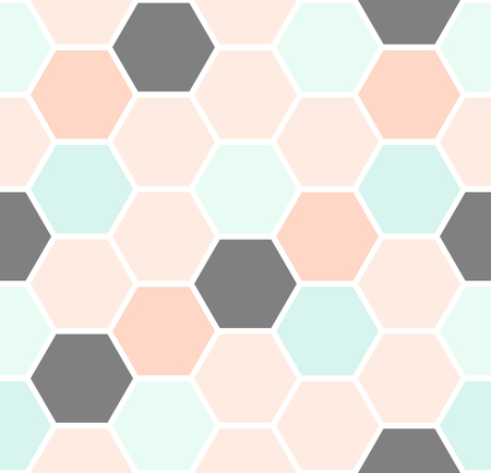 Geometric seamless repeating pattern with hexagon shapes in pastel colors.