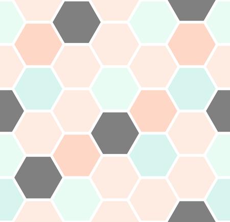 Geometrische naadloze herhalend patroon met zeshoekige vormen in pastelkleuren.