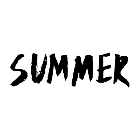 square image: Summer hand lettered design poster in black and white.