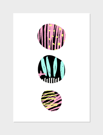 geometric shapes: Abstract collage design with geometric shapes, hand drawn patterns, neon colors and black on white background. Modern poster, card, brochure, home decor design.