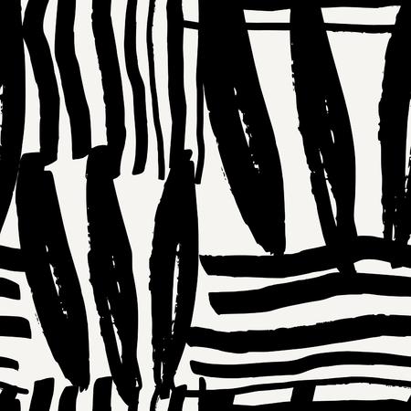 Hand getrokken naadloos abstract patroon in zwart en room. Modern textiel, wenskaart, poster, inpakpapier ontwerpen.