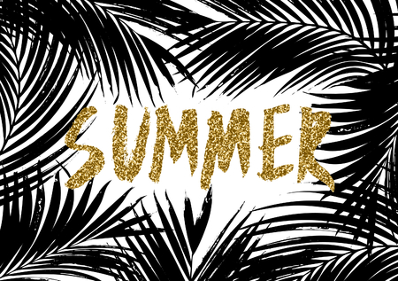 hand lettered: Hand lettered gold glitter text Summer with palm leaves silhouettes in black and white.