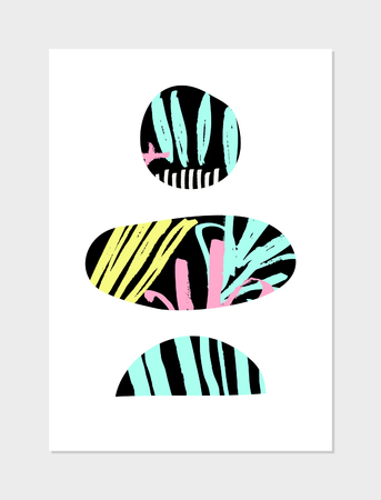 ellipses: Abstract collage design with geometric shapes, hand drawn patterns, neon colors and black on white background. Modern poster, card, brochure, home decor design.
