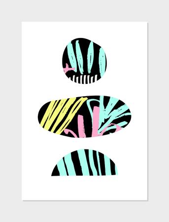 elipse: Diseño del collage abstracto con formas geométricas, motivos dibujados a mano, colores de neón y negro sobre fondo blanco. cartel moderno, tarjetas, folletos, diseño de la decoración del hogar.