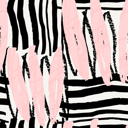 sketch drawing: Hand drawn seamless abstract pattern in black, pastel pink and cream. Modern textile, greeting card, poster, wrapping paper designs.