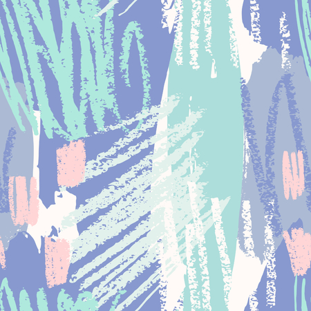 fabric art: Hand drawn seamless abstract pattern in purple, green, blue and pink. Modern textile, greeting card, poster, wrapping paper designs. Illustration