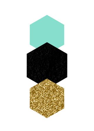 Abstracte compositie met geweven geometrische vormen in zwarte, turkooise groen en goud glitter. Minimalistisch en modern poster, brochure, kaart ontwerp. Stock Illustratie