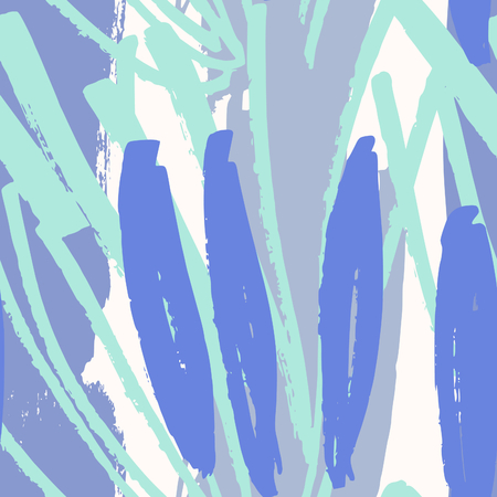garabatos: Hand drawn seamless abstract pattern in purple, green, blue and white. Modern textile, greeting card, poster, wrapping paper designs.