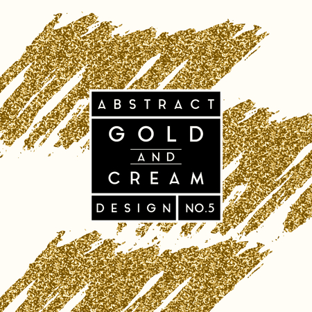 Abstract design with gold glitter shapes on cream background. Modern and stylish invitation, greeting card, packaging design.