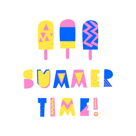 Retro typographic summer design with decorative geometric letters and ice cream in blue, pink and yellow on white background. Modern poster, advertising, wall art, t-shirt design. Illustration