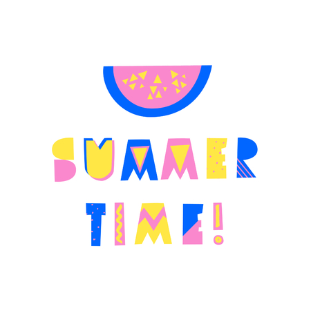 Retro typographic summer design with decorative geometric letters and watermelon in blue, pink and yellow on white background. Modern poster, advertising, wall art, t-shirt design.