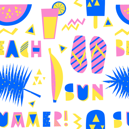 Seamless repeating pattern with decorative letters, watermelon, ice cream and other summer symbols in blue, pink and yellow isolated on white background. Ilustração
