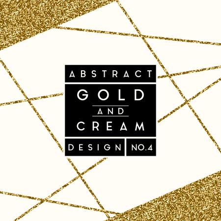 Disegno astratto con forme oro glitter su sfondo crema. Moderno ed elegante invito, biglietto di auguri, packaging design.