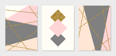 A set of abstract geometric design cards in gray, cream, gold glitter and pastel pink. Modern and stylish abstract composition poster, cover, card design. Illustration