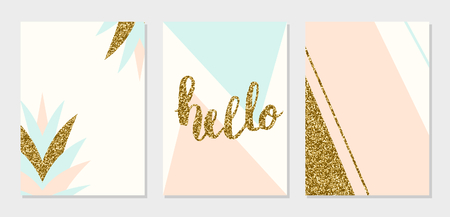 A set of abstract geometric design cards in light blue, cream, gold glitter and pastel pink. Modern and stylish abstract composition poster, cover, card design. 일러스트