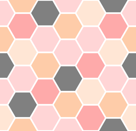 Geometric seamless repeating pattern with hexagon shapes in gray, pink and orange pastel colors.