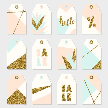 Étiquettes à motif géométrique en rose pastel, bleu clair, crème et or.