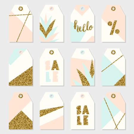 Geometric design summer sale tags in pastel pink, light blue, cream and gold glitter.