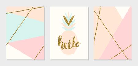 유행: 라이트 블루, 크림, 골드 반짝이 파스텔 핑크 추상적 인 기하학적 디자인의 카드 세트. 현대적이고 세련된 추상 컴포지션 포스터, 표지, 카드 디자인.