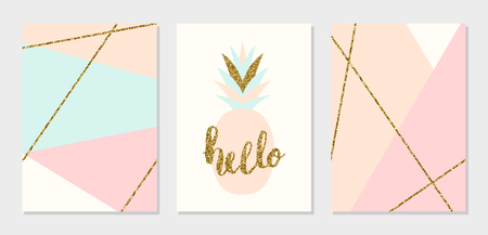 A set of abstract geometric design cards in light blue, cream, gold glitter and pastel pink. Modern and stylish abstract composition poster, cover, card design.