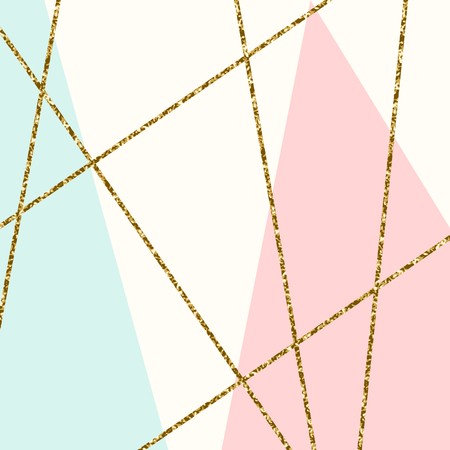 Composición geométrica abstracta en azul claro, crema, brillo del oro y rosa pastel. Moderno y elegante Póster de diseño abstracto, cubierta, diseño de la tarjeta.