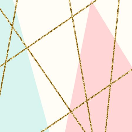 Composizione astratta geometrica in azzurro, crema, glitter oro e rosa pastello. manifesto moderno ed elegante disegno astratto, copertina, card design.