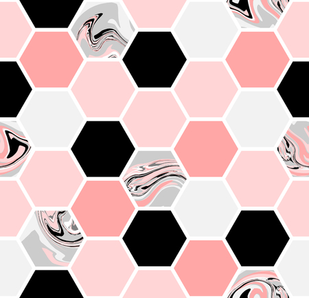 Geometric seamless repeating pattern with hexagon shapes in pastel pink, black, gray and marble texture. Vettoriali