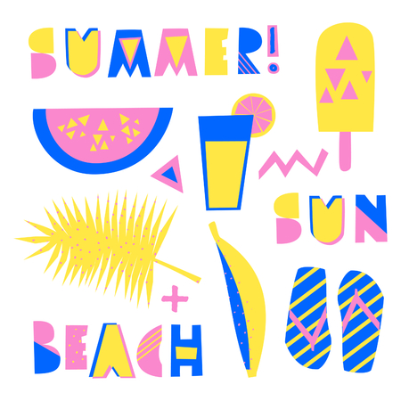 A set of tribal geometric summer design elements. Decorative letters, watermelon, ice cream and other summer symbols in blue, pink and yellow isolated on white background.