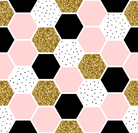 Geometric seamless repeating pattern with hexagon shapes in pastel pink, black, gold glitter and hand drawn dots texture. Vectores
