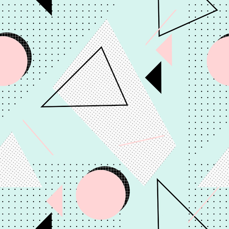 Seamless repeating pattern with geometric elements and textures in pastel colors. Retro style tiling background, poster, textile, greeting card design.