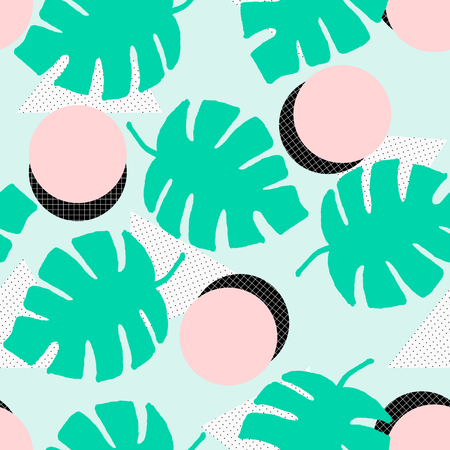 Seamless repeating pattern with geometric elements, green tropical leaves and textures in pastel colors. Retro style tiling background, poster, textile, greeting card design.