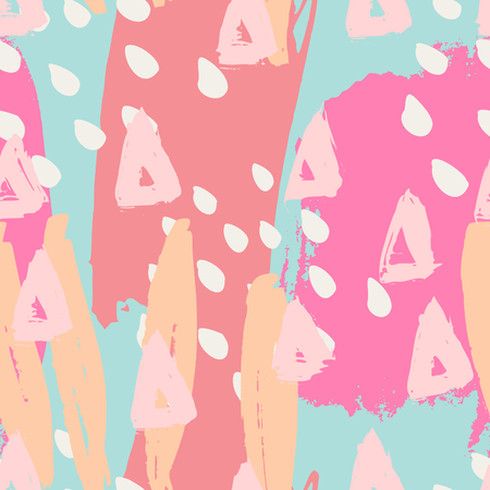 garabatos: Hand drawn seamless abstract pattern in pink, orange, blue and white. Modern textile, greeting card, poster, wrapping paper designs.