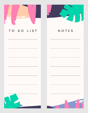 page layout: Printable notes and to do list template designs decorated with hand drawn colorful brush strokes in green, fuchsia pink and purple.