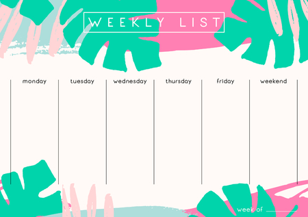 weekly planner: Printable weekly planner template design decorated with hand drawn green tropical leaves and colorful brush strokes in fuchsia, pastel pink and light blue.