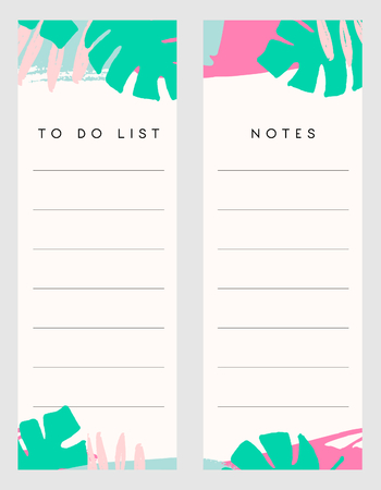 notebook: Printable notes and to do list template designs decorated with hand drawn green tropical leaves and colorful brush strokes in fuchsia, pastel pink and light blue.