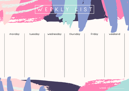 weekly: Printable weekly planner template design decorated with hand drawn colorful brush strokes in fuchsia, pastel pink, lavender and dark purple.