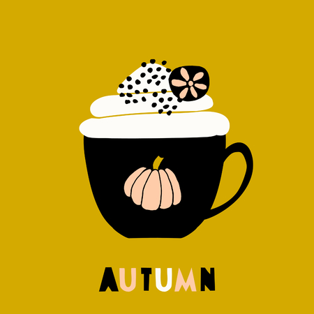 Autumn greeting card template with a cup of hot beverage, decorated with whipped cream and spices. Cutout style letters in black, white and orange.