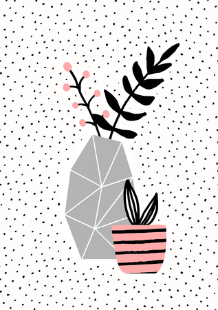 Geometric concrete vase with black branches and pink pot with succulent plant on dots texture background. Cute and modern Scandinavian style illustration, perfect for greeting cards, wall art, invitations, etc.