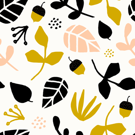 Seamless repeating pattern with leaves, acorns and branches on cream background. Autumn tiling background, poster, textile, greeting card design.