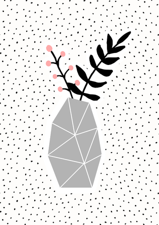 Geometric concrete vase with black branches on dots texture background. Cute and modern Scandinavian style illustration, perfect for greeting cards, wall art, invitations, etc. Illustration