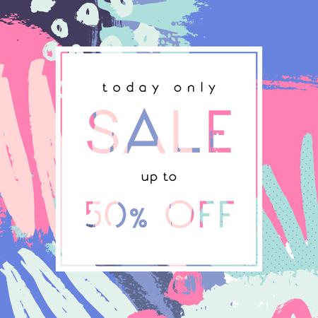 garabatos: Dibujado a mano composición abstracta en rosa, verde, fucsia y violeta. cartel moderno y creativo venta, venta de folletos, diseño de la oferta de descuento. Vectores