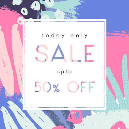 Hand drawn abstract composition in pink, green, fuchsia and violet. Modern and creative sale poster, sale brochure, discount offer design.