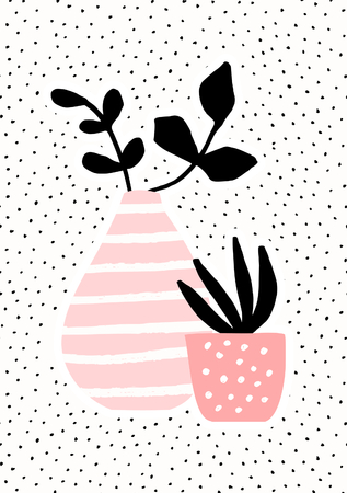 Pink And Vase And Pot With Black Plants On Dots Texture Background